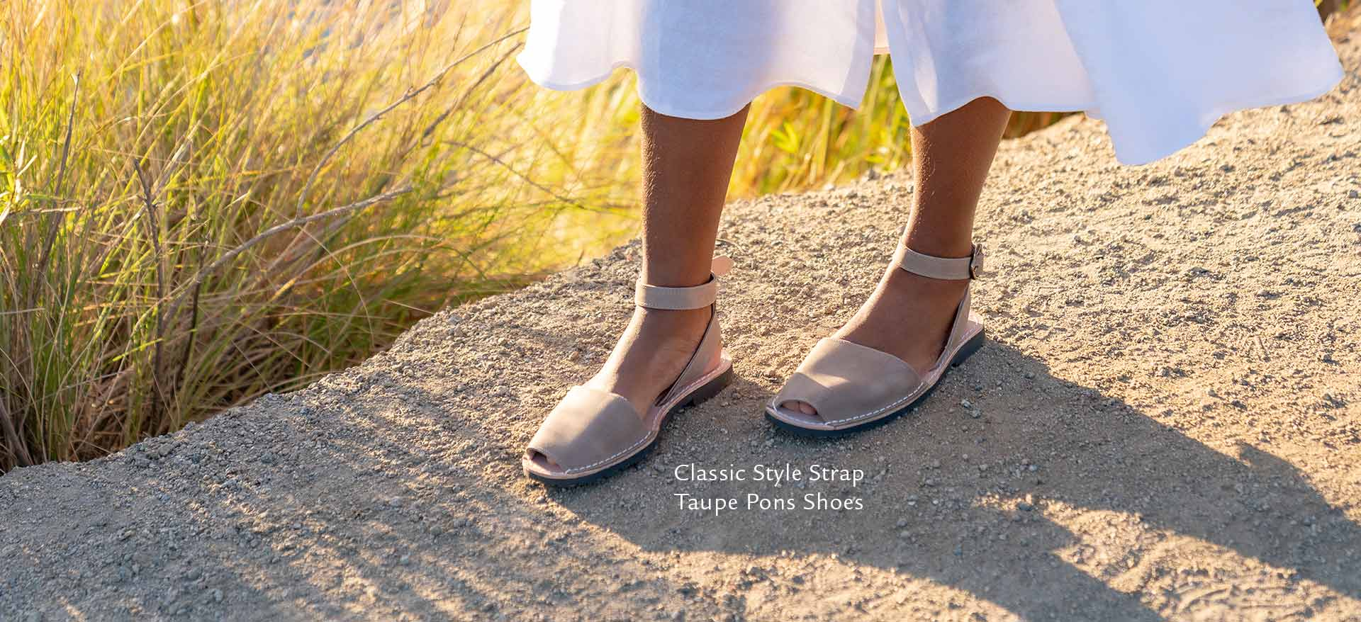 Classic Style Strap Taupe Pons Shoes