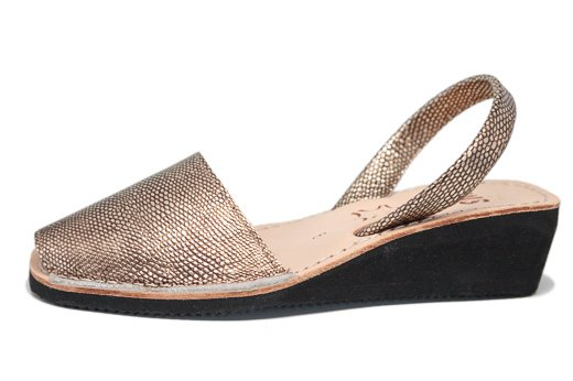 Wedge Metallic Champagne Avarcas