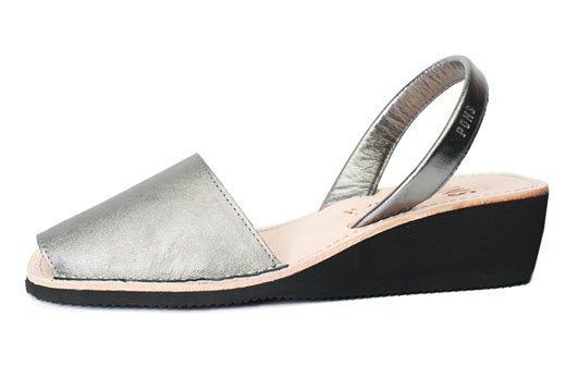 Wedge Metallic Pewter Avarcas