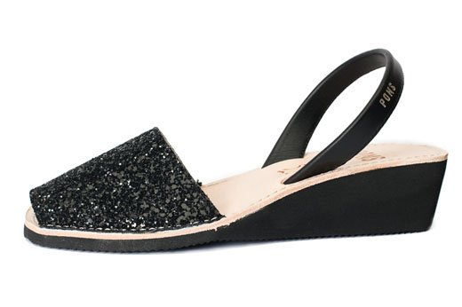 Wedge Glitter Black Avarcas