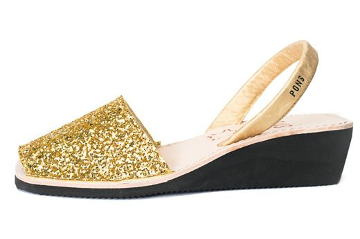 Wedge Glitter Gold Avarcas