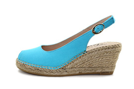 Sling Back Wedge Aqua Blue