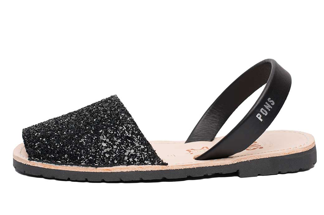 Outlet - Classic Style Glitter Black Avarca