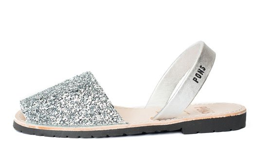 Outlet - Classic Style Glitter Silver Avarca