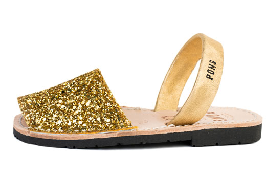Classic Style Kids Glitter Gold Avarcas