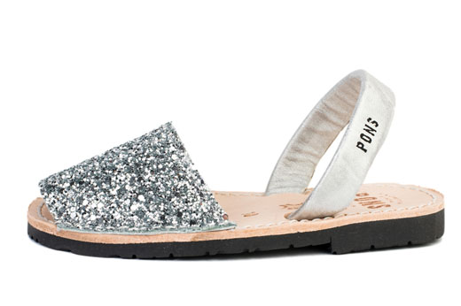Classic Style Kids Glitter Silver Avarcas